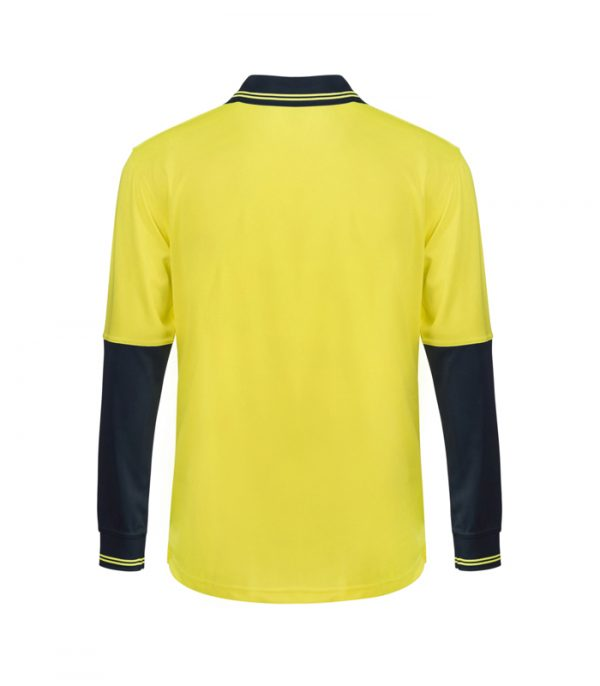 WSP402 HI VIS TWO TONE LONG SLEEVE COTTON BACK POLO WITH POCKET NY2