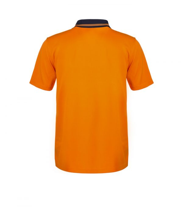 WSP401 HI VIS TWO TONE SHORT SLEEVE COTTON BACK POLO WITH POCKET NO2