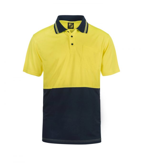 WSP401 HI VIS TWO TONE SHORT SLEEVE COTTON BACK POLO WITH POCKET NY1