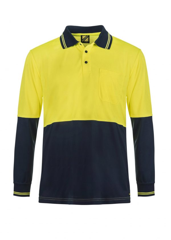 WSP202 HI VIS TWO TONE LONG SLEEVE MICROMESH POLO WITH POCKET NY1