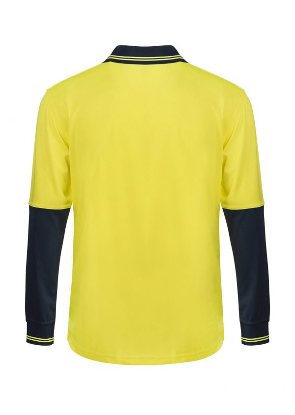 WSP202 HI VIS TWO TONE LONG SLEEVE MICROMESH POLO WITH POCKET NY2