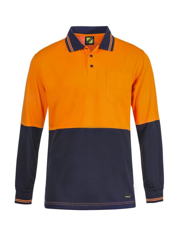 WSP202 HI VIS TWO TONE LONG SLEEVE MICROMESH POLO WITH POCKET NO1