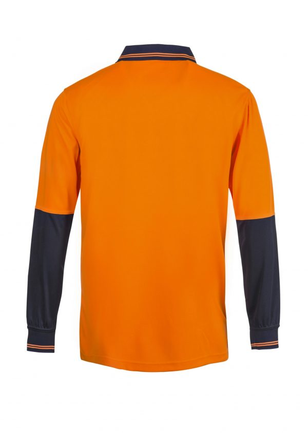 WSP202 HI VIS TWO TONE LONG SLEEVE MICROMESH POLO WITH POCKET NO2