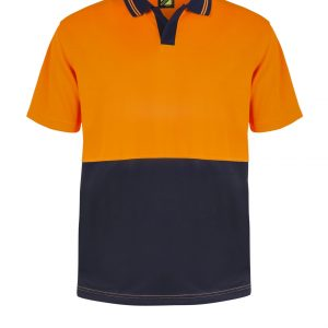 WSP205 HI VIS TWO TONE FOOD INDUSTRY SHORT SLEEVE MICROMESH POLO WITH NO POCKET OR BUTTONS NO1