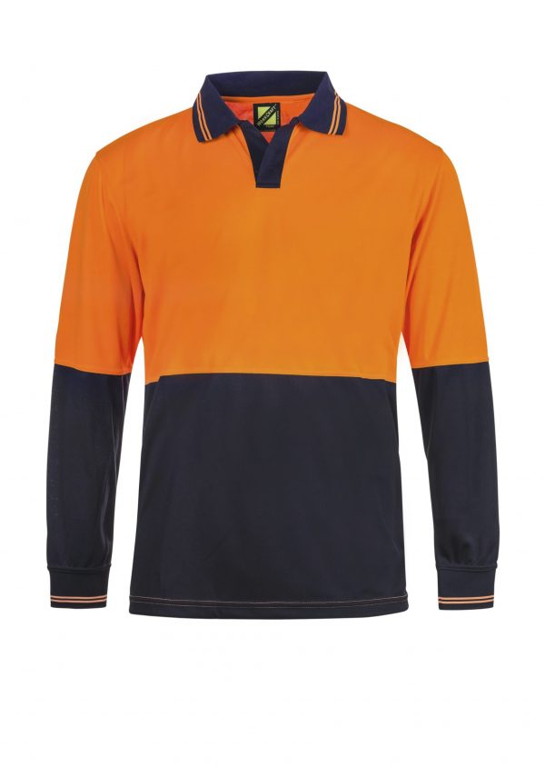 WSP206 HI VIS TWO TONE FOOD INDUSTRY LONG SLEEVE MICROMESH POLO WITH NO POCKET OR BUTTONS NO1
