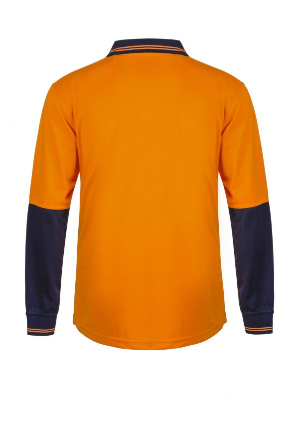 WSP206 HI VIS TWO TONE FOOD INDUSTRY LONG SLEEVE MICROMESH POLO WITH NO POCKET OR BUTTONS NO2