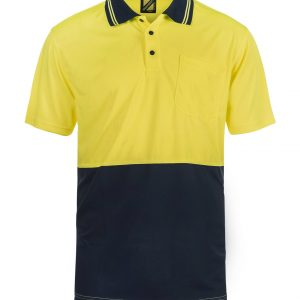 WSP201 HI VIS TWO TONE SHORT SLEEVE MICROMESH POLO WITH POCKET NY1