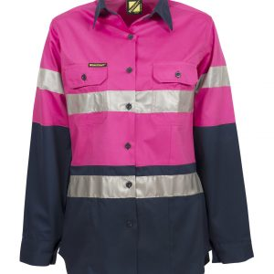 WSL503 Ladies Lightweight Hi Vis Two Tone Long Sleeve Vented Cotton Drill Shirt with CSR Reflective Tape PN1