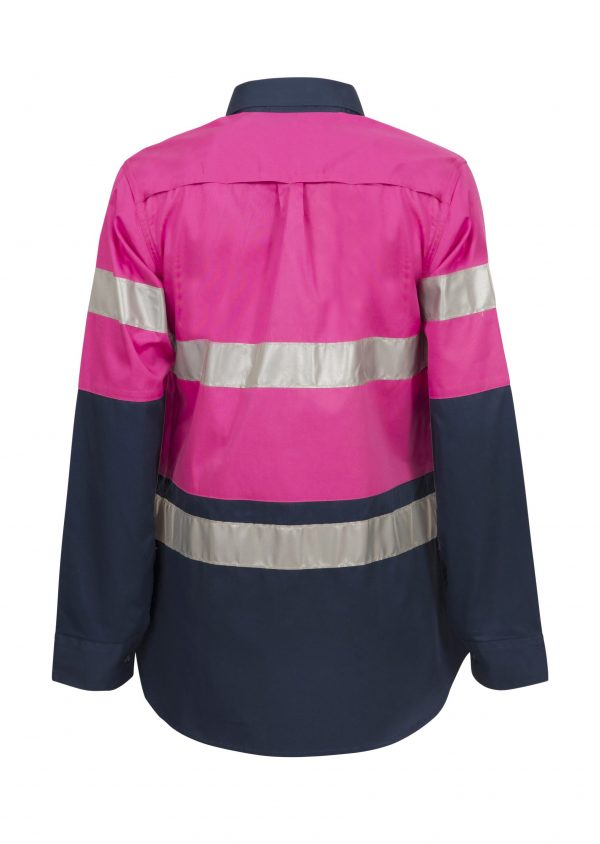 WSL503 Ladies Lightweight Hi Vis Two Tone Long Sleeve Vented Cotton Drill Shirt with CSR Reflective Tape PN2