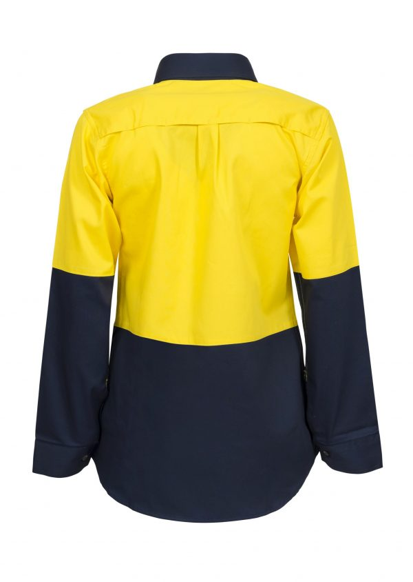WSL502 Ladies Lightweight Long Sleeve Half Placket Cotton Drill Shirt with Contrast Buttons NY2