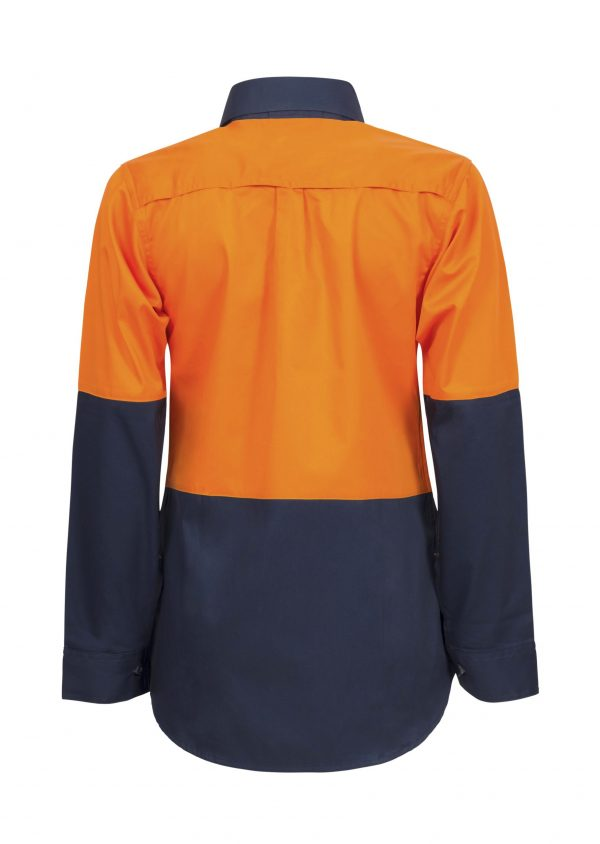WSL502 Ladies Lightweight Long Sleeve Half Placket Cotton Drill Shirt with Contrast Buttons NO2