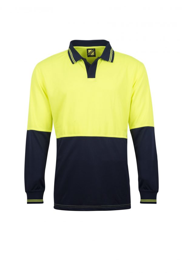 WSP206 HI VIS TWO TONE FOOD INDUSTRY LONG SLEEVE MICROMESH POLO WITH NO POCKET OR BUTTONS NY1