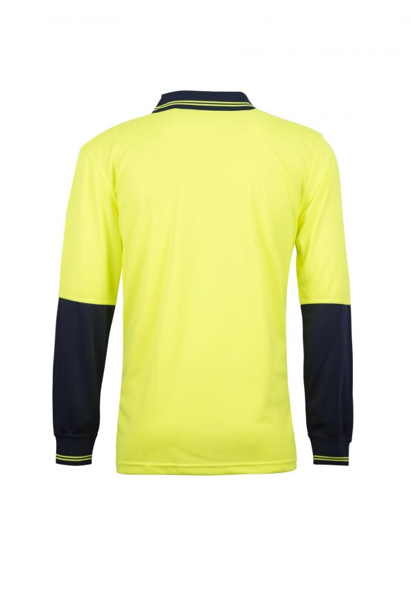 WSP206 HI VIS TWO TONE FOOD INDUSTRY LONG SLEEVE MICROMESH POLO WITH NO POCKET OR BUTTONS NY2