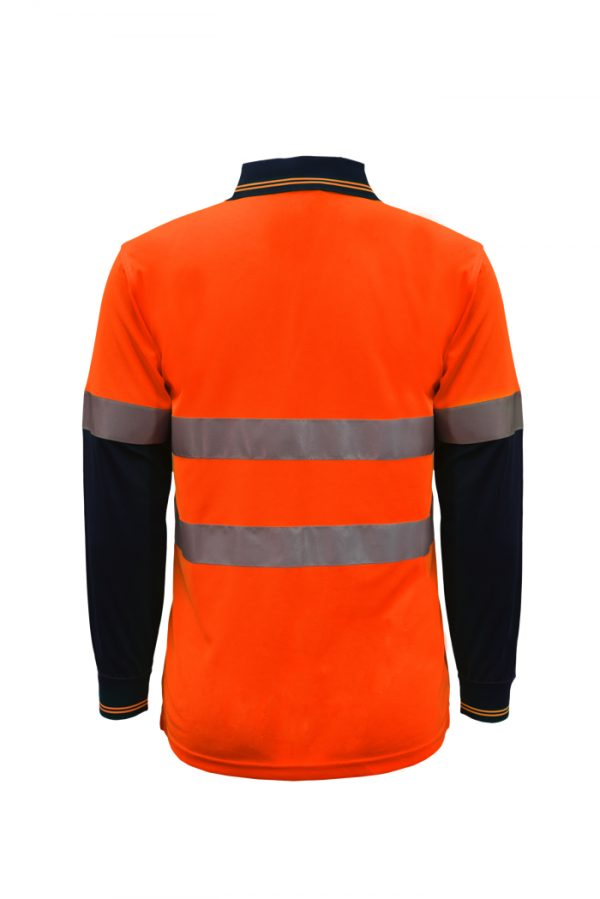 WSP409 HI VIS TWO TONE LONG SLEEVE MICROMESH POLO WITH POCKET AND CSR REFLECTIVE TAPE NO2