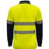 WSP409 HI VIS TWO TONE LONG SLEEVE MICROMESH POLO WITH POCKET AND CSR REFLECTIVE TAPE NY2