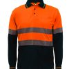 WSP409 HI VIS TWO TONE LONG SLEEVE MICROMESH POLO WITH POCKET AND CSR REFLECTIVE TAPE NO1