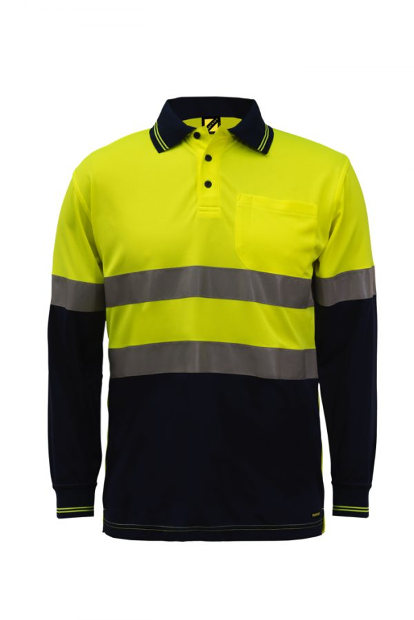 WSP409 HI VIS TWO TONE LONG SLEEVE MICROMESH POLO WITH POCKET AND CSR REFLECTIVE TAPE NY1