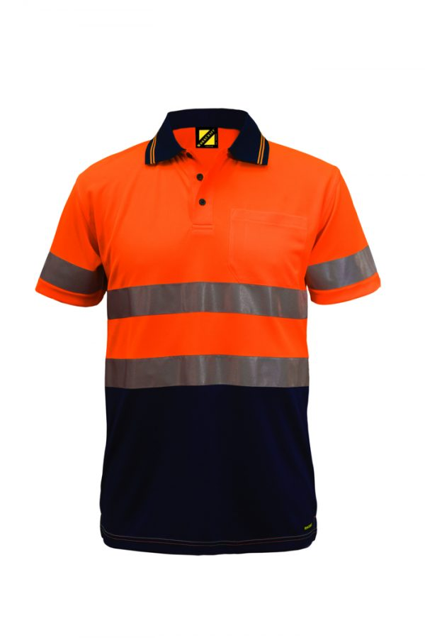 WSP410 Hi Vis Two Tone Short Sleeve Micromesh Polo with Pocket and CSR Reflective Tape NO1