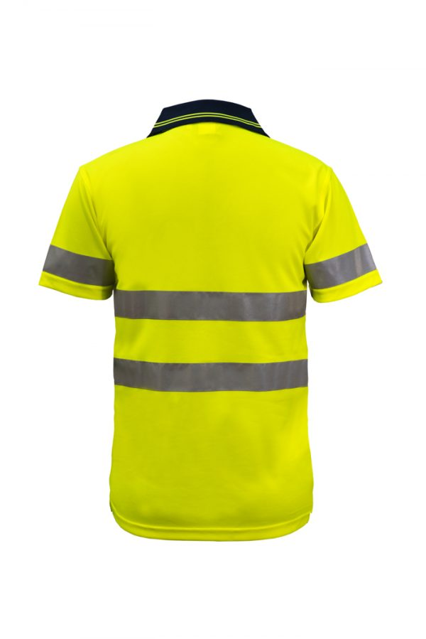 WSP410 Hi Vis Two Tone Short Sleeve Micromesh Polo with Pocket and CSR Reflective Tape NY2