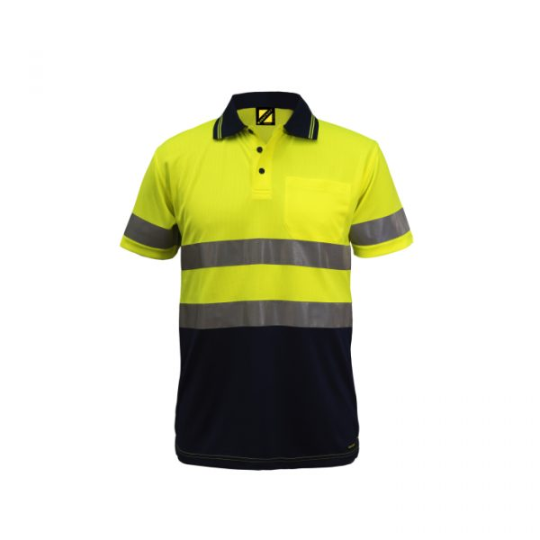 WSP410 Hi Vis Two Tone Short Sleeve Micromesh Polo with Pocket and CSR Reflective Tape NY1