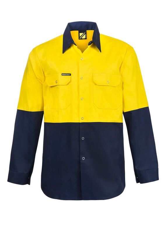 WS3032 Hi Vis Two Tone Long Sleeve Cotton Drill Shirt with Press Studs NY1