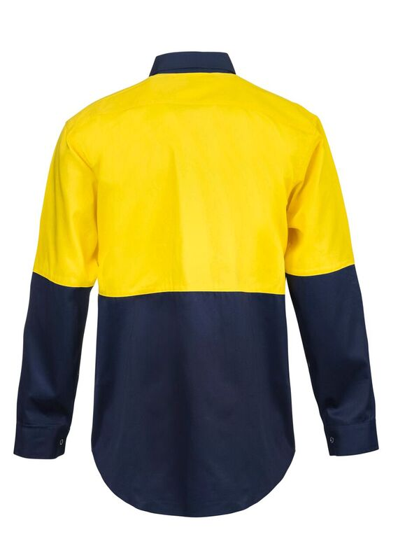 WS3032 Hi Vis Two Tone Long Sleeve Cotton Drill Shirt with Press Studs NY2