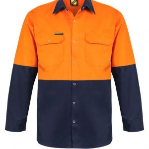 WS3032 Hi Vis Two Tone Long Sleeve Cotton Drill Shirt with Press Studs NO1