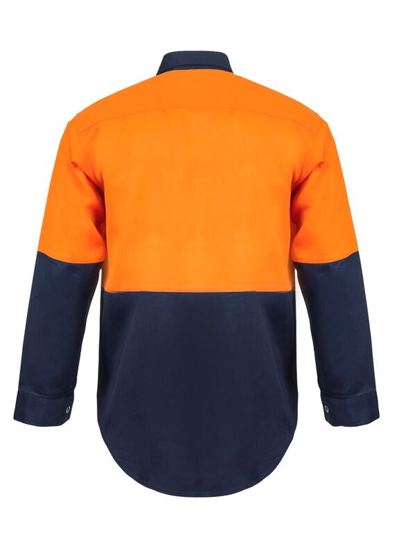 WS3032 Hi Vis Two Tone Long Sleeve Cotton Drill Shirt with Press Studs NO2
