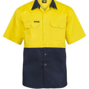 WS3063 Hi Vis Two Tone Short Sleeve Cotton Drill Shirt with Press Studs NY1