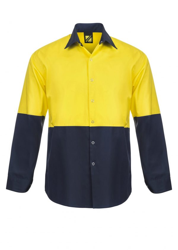 WS3045 Lightweight Hi Vis Two Tone Long Sleeve Vented Cotton Drill Food Industry Shirt with Press Studs and No Pockets NY1