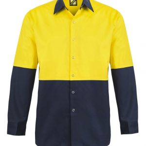 WS3035 Hi Vis Two Tone Long Sleeve Cotton Drill Food Industry Shirt with Press Studs and No Pockets NY1