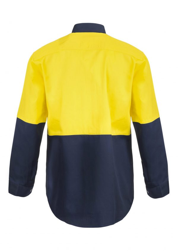 WS3035 Hi Vis Two Tone Long Sleeve Cotton Drill Food Industry Shirt with Press Studs and No Pockets NY2