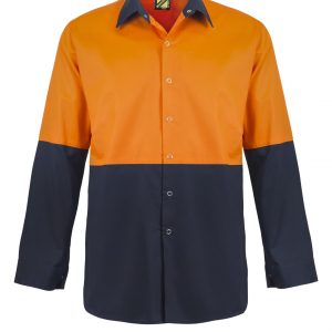 WS3045 Lightweight Hi Vis Two Tone Long Sleeve Vented Cotton Drill Food Industry Shirt with Press Studs and No Pockets NO1