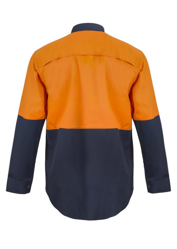 WS3045 Lightweight Hi Vis Two Tone Long Sleeve Vented Cotton Drill Food Industry Shirt with Press Studs and No Pockets NO2