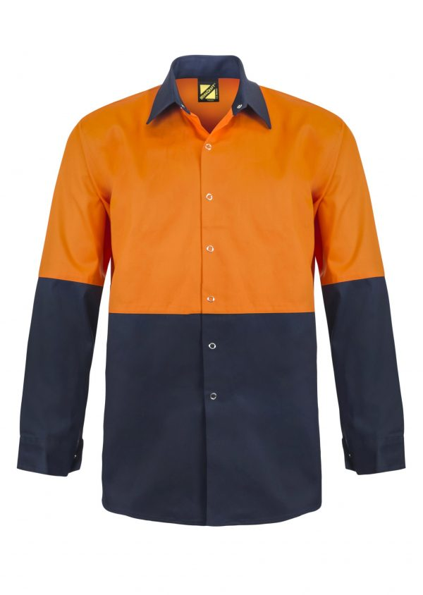 WS3035 Hi Vis Two Tone Long Sleeve Cotton Drill Food Industry Shirt with Press Studs and No Pockets NO1