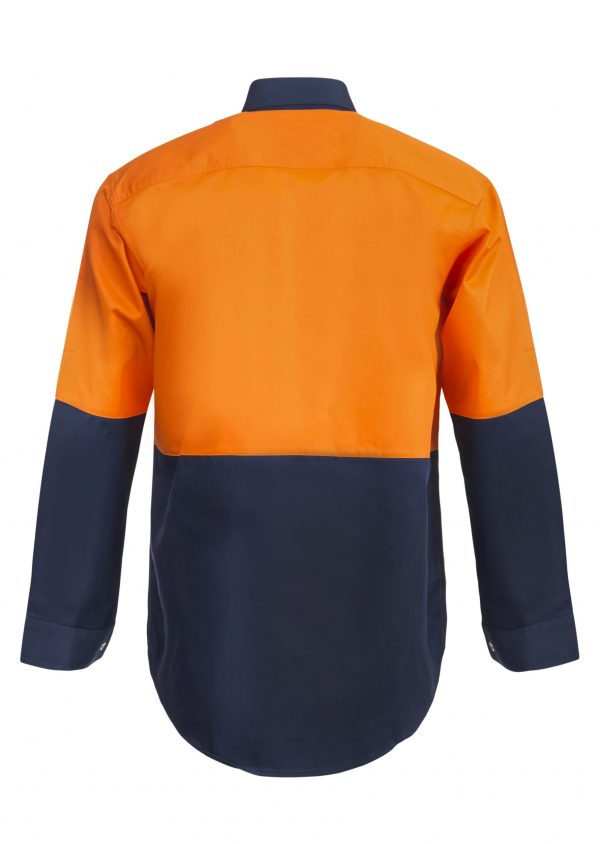WS3035 Hi Vis Two Tone Long Sleeve Cotton Drill Food Industry Shirt with Press Studs and No Pockets NO2