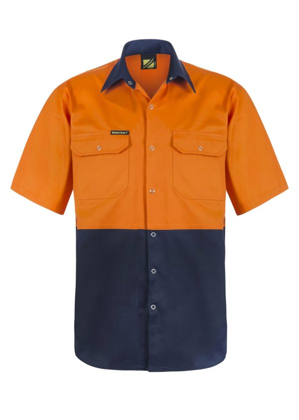 WS3063 Hi Vis Two Tone Short Sleeve Cotton Drill Shirt with Press Studs NO1
