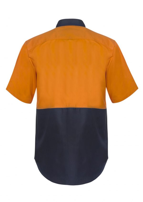 WS3063 Hi Vis Two Tone Short Sleeve Cotton Drill Shirt with Press Studs NO2