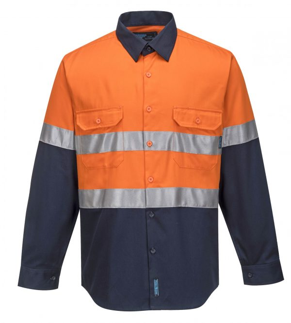 MA101 - Hi-Vis Two Tone Regular Weight Long Sleeve Shirt with Tape O1