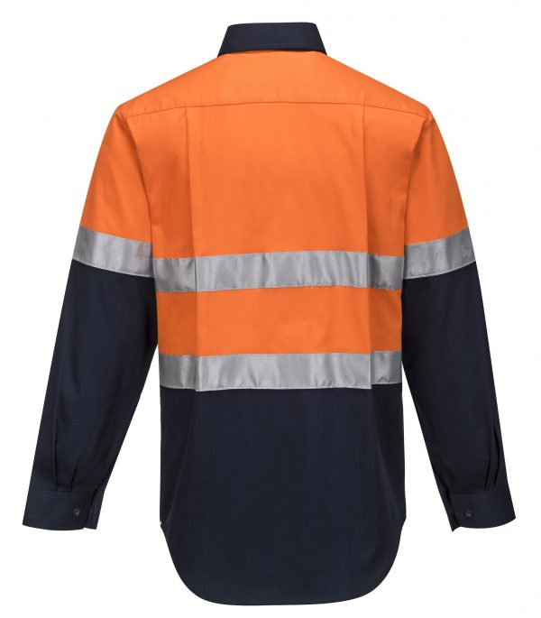 MA101 - Hi-Vis Two Tone Regular Weight Long Sleeve Shirt with Tape O2