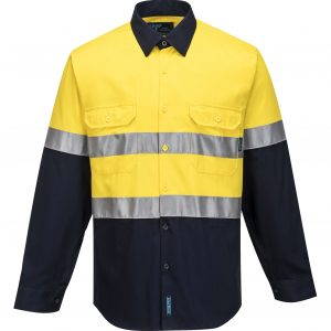 MA101 - Hi-Vis Two Tone Regular Weight Long Sleeve Shirt with Tape Y1