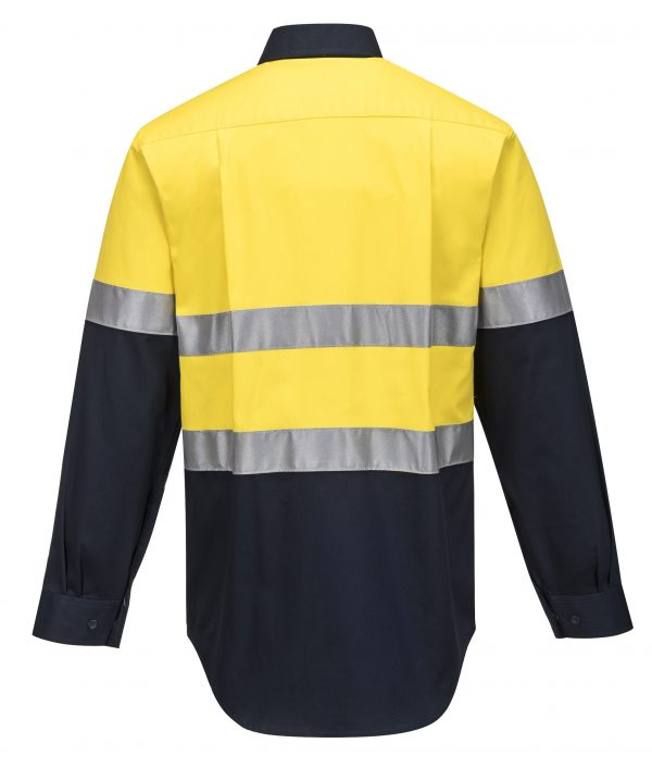 MA101 - Hi-Vis Two Tone Regular Weight Long Sleeve Shirt with Tape Y2