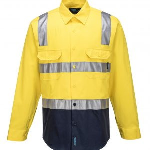 MS101 Hi-Vis Two Tone Regular Weight Shirt with Tape Over Shoulder Y1