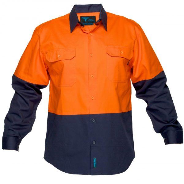 MS901 - Hi-Vis Cotton Two Tone Regular Weight Long Sleeve Shirt O1