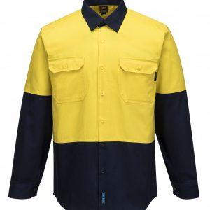 MS901 - Hi-Vis Cotton Two Tone Regular Weight Long Sleeve Shirt Y2