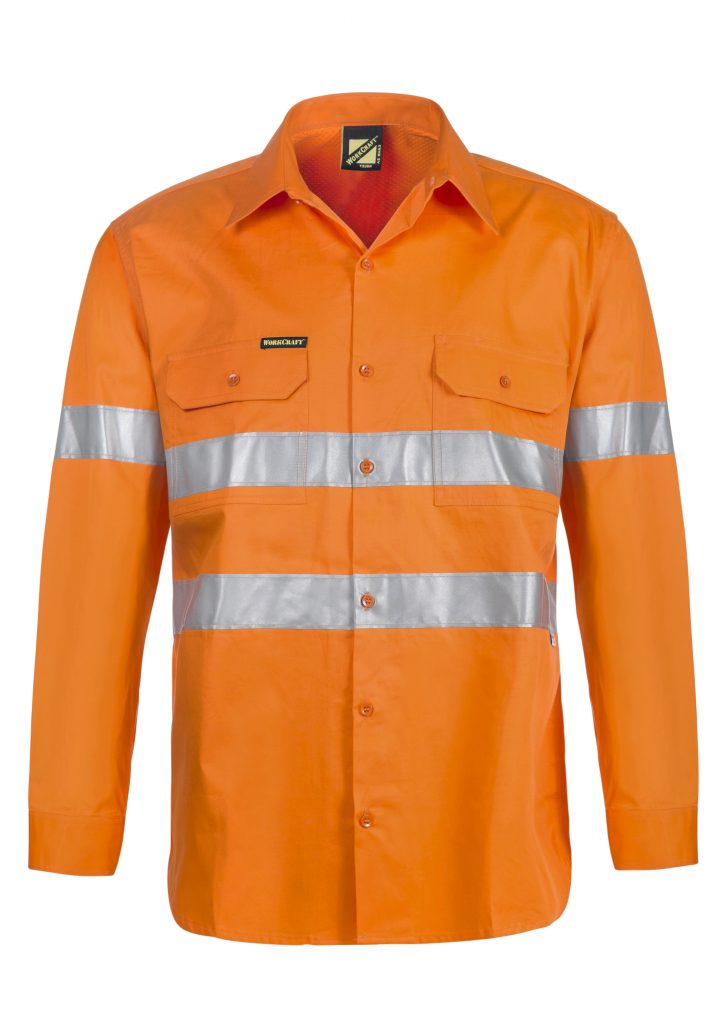 WS4131 Lightweight Hi Vis Long Sleeve Vented Cotton Drill Shirt with CSR Reflective Tape ORG1