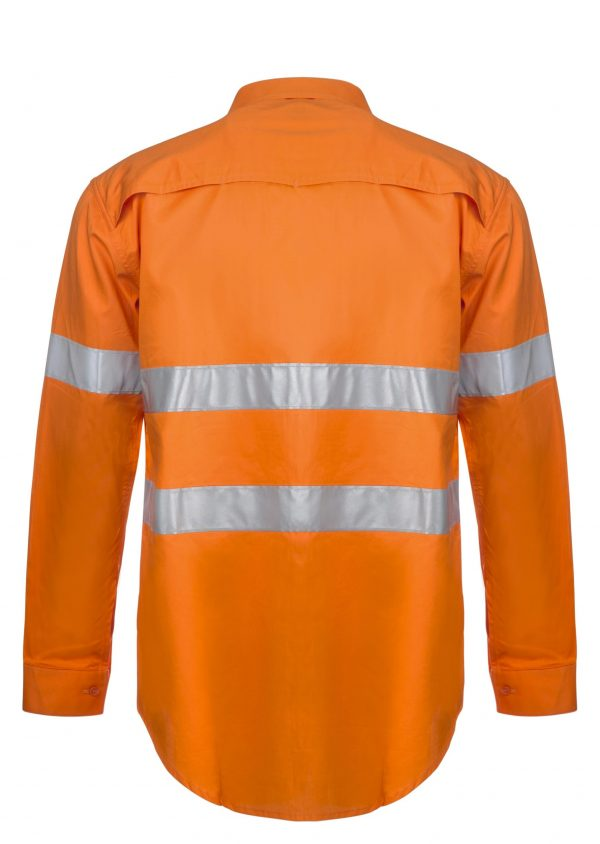 WS4131 Lightweight Hi Vis Long Sleeve Vented Cotton Drill Shirt with CSR Reflective Tape ORG2