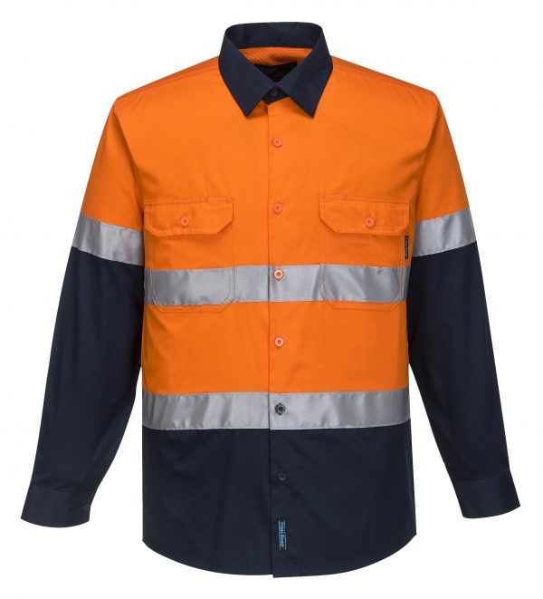 MA801 - Hi-Vis Two Tone Cotton Lightweight Long Sleeve Shirt with Tape ORG1