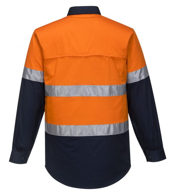 MA801 - Hi-Vis Two Tone Cotton Lightweight Long Sleeve Shirt with Tape ORG2