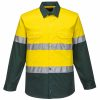MA801 - Hi-Vis Two Tone Cotton Lightweight Long Sleeve Shirt with Tape GRE1